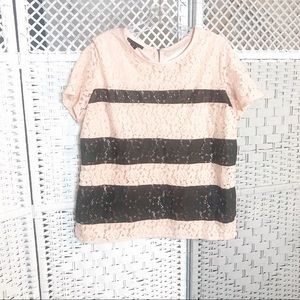 ATTENTION Lace Peach/pink/ BLack striped Blouse XL